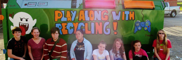 Garrard Middle School Students Paint Recycling Bin